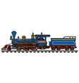 Old blue american steam locomotive vector image