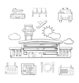 Airport and flight service sketch design vector image vector image