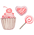 Pink watercolor sweets vector image vector image