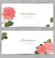 neat invitation cards with lovely roses for your vector image vector image