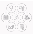 Female treasure chest and paediatrics icons vector image