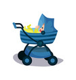adorable baby in a blue modern baby pram vector image