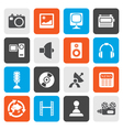 Flat Media and household equipment icons vector image