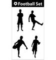 Football silhouette set vector image