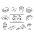 hand drawn icons fast food vector image