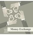 Hand exchange money signs vector image