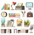 Office orthogonal icon set vector image
