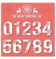 Set of Christmas stylized numbers with snowflakes vector image