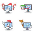 Set of monitor character with santa candy book and vector image