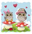 two cute cartoon owls on mushrooms vector image