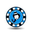 poker chip Christmas new year Girl Santa Claus in vector image