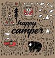 happy camper hand drawn card cartoon vector image