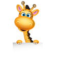 cute giraffe cartoon with blank sign vector image vector image
