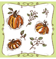 Pumpkins Vines and Swirly Ornaments vector image vector image