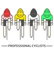 Flat bicyclists in yellow green vector image