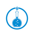 Chemical flask with reaction icon vector image