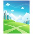 cityscape green mountain vector image
