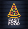 pizza fast food neon lights vector image