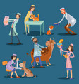vets with cute pets cartoon vector image