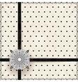 Vintage lace polka dots ornament card vector image
