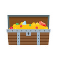 wooden open treasure chest full of gold and jewels vector image