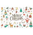 Christmas hand drawn doodles set vector image vector image