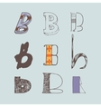 set of colorful alphabet letters B vector image