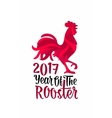 Red fiery rooster Vintage black engraving vector image
