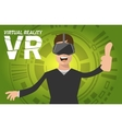 A man with virtual reality headset vector image