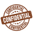 confidential brown grunge round vintage rubber vector image