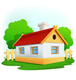 cartoon rural house with among trees and fence vector image