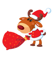 deer Santa with bag vector image