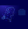 map netherlands from the contours network blue vector image