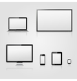Modern technology devices with blank screen vector image