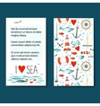 Set of 2 cards templates with sea background vector image