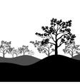Tree sakura silhouette with landscape vector image