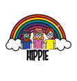 nice people hippies with rainbow and cloud vector image