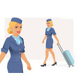smiling stewardess vector image