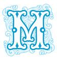 winter vintage letter M vector image