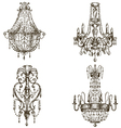 set of four chandelier drawings vector image