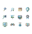 Business research flat color icons set vector image
