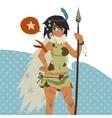 Cartoon cute amazon girl flat mascot vector image