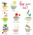 Cups with tea set - berries lemon mint vanilla vector image
