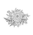 floral bouquet flower engraving retro greeting vector image
