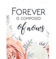 floral design card peach garden rose white peony vector image