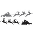 Flying Santa Claus in a reindeer sleigh vector image