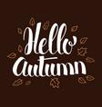 hello autumn calligraphy season banner design vector image