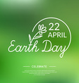 Linear Logo Earth Day vector image