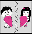 man and woman holding part of a broken heart vector image
