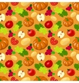 Seamless harvest fruits and vegetables vector image